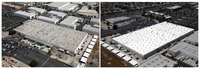 A before and after look at the 210,000 square foot American International Industries cosmetics manufacturing facility roof, reroofed by Highland Commercial Roofing.