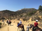 Wounded veterans ride near the Hollywood sign in Griffith Park, Los Angeles