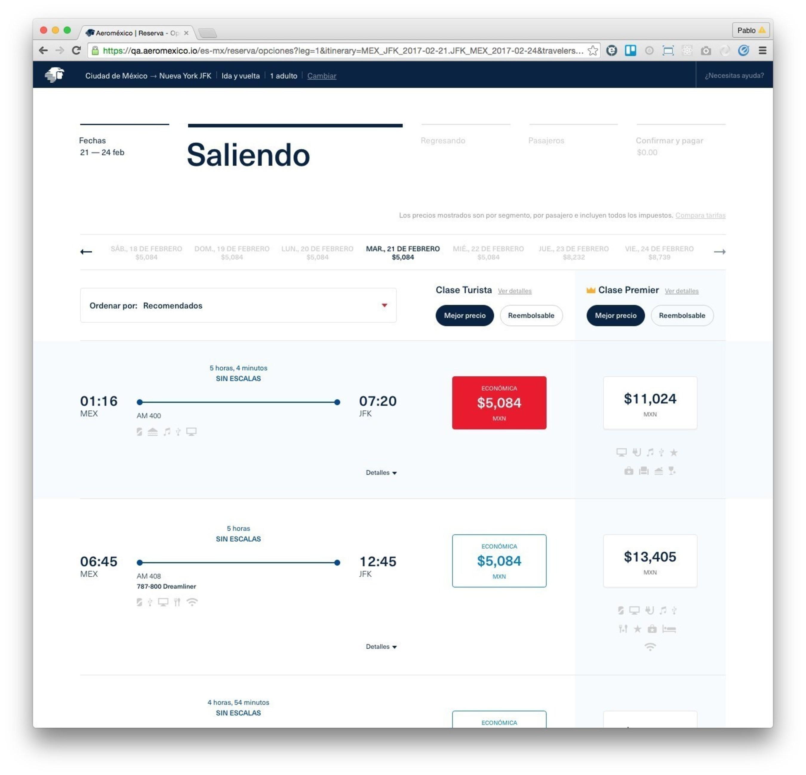 Aeromexico's new website