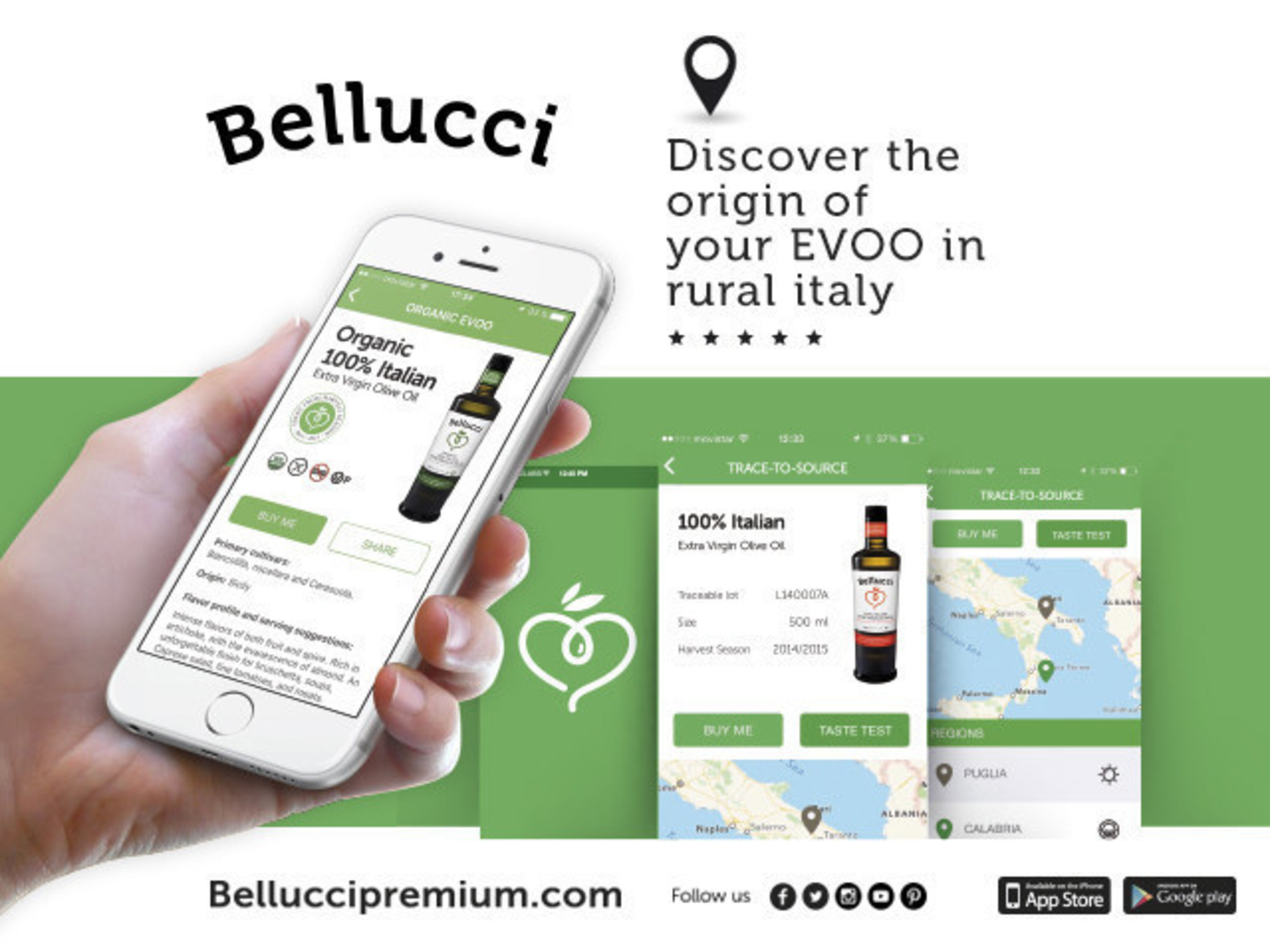 Trace any Bellucci bottle to its precise origin in rural Italy and learn to savor the flavor that comes from the land beneath the trees.