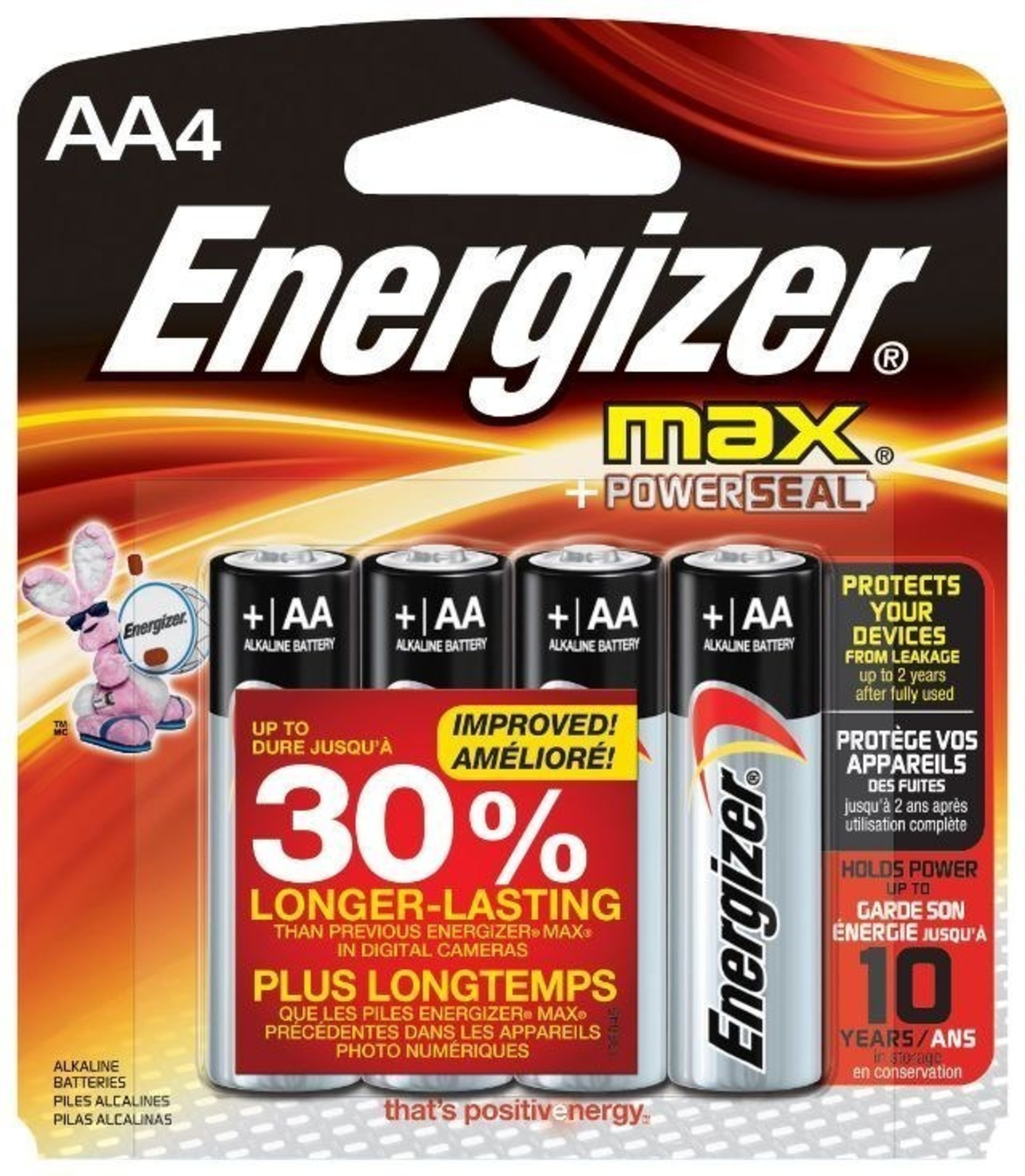 The improved Energizer MAX(R) batteries last up to 30 percent longer than previous Energizer MAX(R) AA batteries in digital cameras, giving consumers the power to do more of what they love. They also offer leakage protection through Power Seal Technology for up to two years after fully used- giving consumers peace of mind that their cameras, toys and other valuable devices are protected with Energizer MAX(R) batteries.