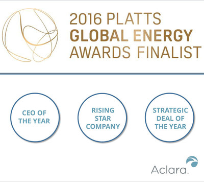 Smart Infrastructure firm Aclara Technologies LLC was named a finalist for the prestigious 2016 Platts Global Energy Awards, an annual program recognizing exemplary industry leadership, in three categories: CEO of the Year, Rising Star Award-Company and Strategic Deal of the Year. Winners will be recognized December 8 at a gala in New York City.