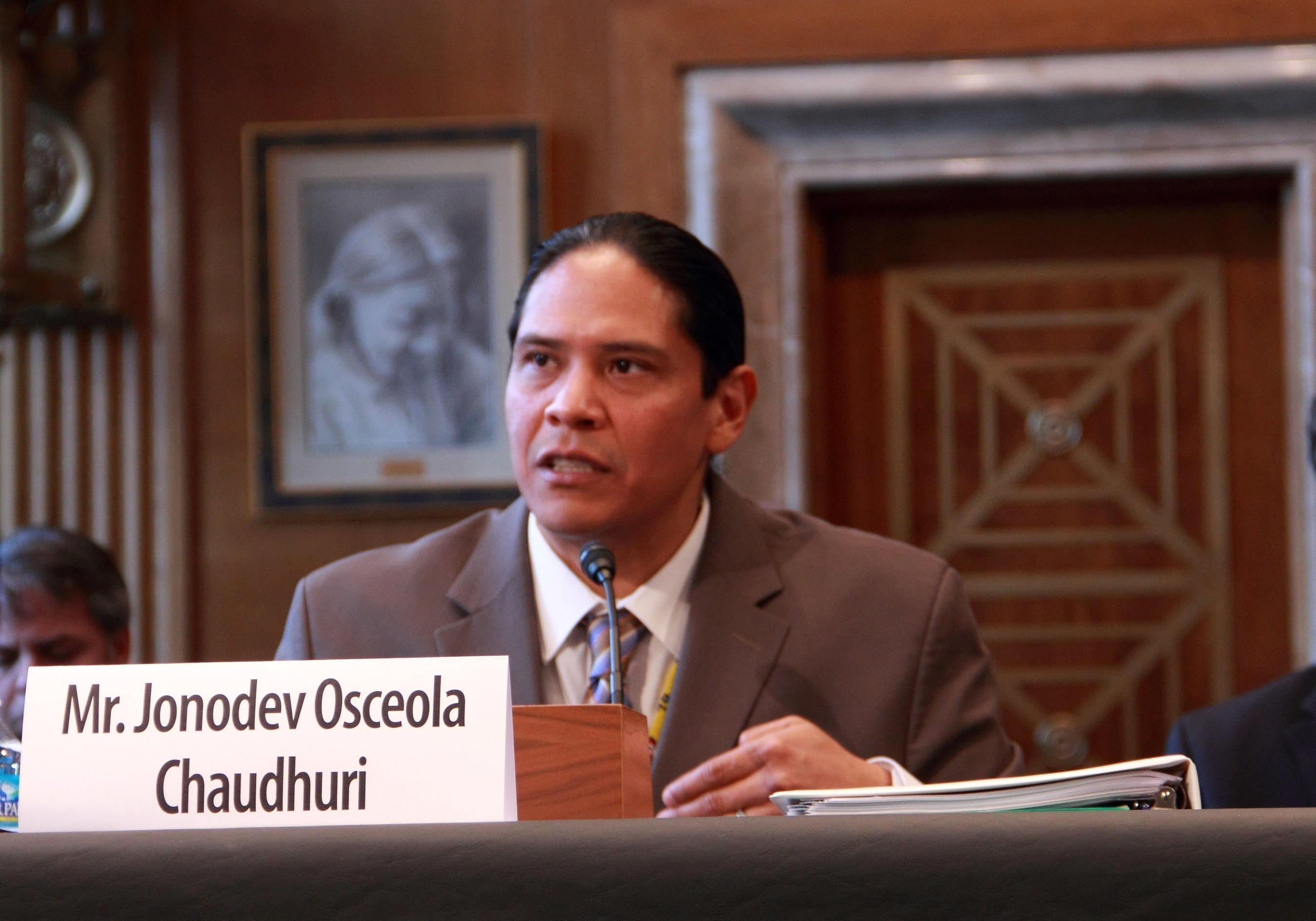 Jonodev Chaudhuri, President Obama's nominee for Chairman of the National Indian Gaming Commission, testifies before the U.S. Senate on Indian Affairs Committee at his nomination hearing March 11, 2015.  Chaudhuri was confirmed by the Senate April 16, 2015 as the ninth presidentially appointed and Senate-Confirmed Chair for the Indian gaming regulatory agency.