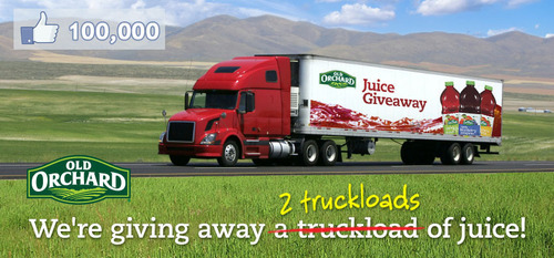 In celebration of its 100,000th Facebook fan, Old Orchard Brands is giving away one truckload of juice to Feeding America and a second to its fans.  (PRNewsFoto/Old Orchard Brands)
