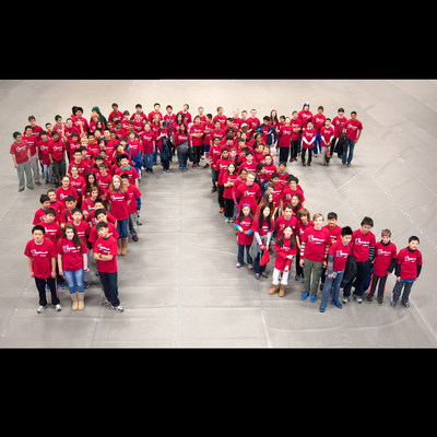 More than 100 middle school students from the MATHCOUNTS program stand in formation of the Greek letter Pi in celebration of Pi Day. The date, March 14 or 3.14, represents the first three digits of Pi, which is used in mathematics to express the ratio of a circle's circumference to its diameter. As part of Raytheon's MathMovesU® initiative, the company observes Pi Day to highlight the significance of pi calculations in science, technology, engineering and math to the next generation of innovators.