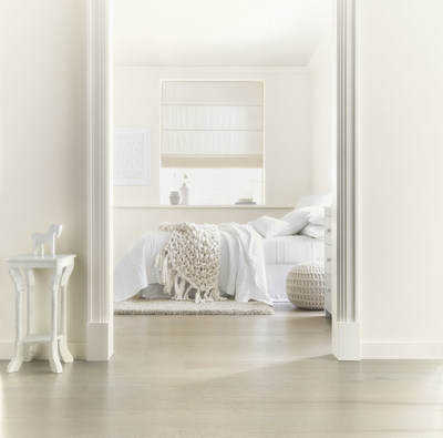 """Lowe's: 7006-3 Promenade/ Ace: 22-1A Wedding Cake/ Independent Retailers: V155 Soft Wool/  This perfect, peaceful white provides respite from the noise and stress of daily life at work and home. Timely and timeless - white used deliberately makes all the difference. """"With a touch of warm gray, this white gives a more relaxed and natural feel than a crisp pure white,"""" said Kim."""