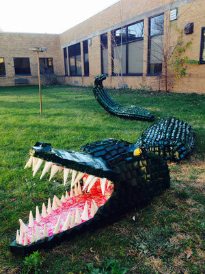 Southfield Regional Academic Campus from Southfield, Michigan, won the Made By Milk(TM) 2015 Carton Construction Contest grand prize of $5,000 for their 16-foot carton sculpture Alligator, made out of 1,345 repurposed milk cartons.