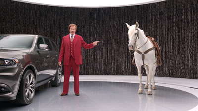 "Ron Burgundy anchors new 2014 Dodge Durango advertising campaign in unique partnership with Dodge brand and Paramount Pictures upcoming film ""Anchorman 2: The Legend Continues""  (The Dodge Brand/Paramount Pictures).  (PRNewsFoto/Chrysler Group LLC)"