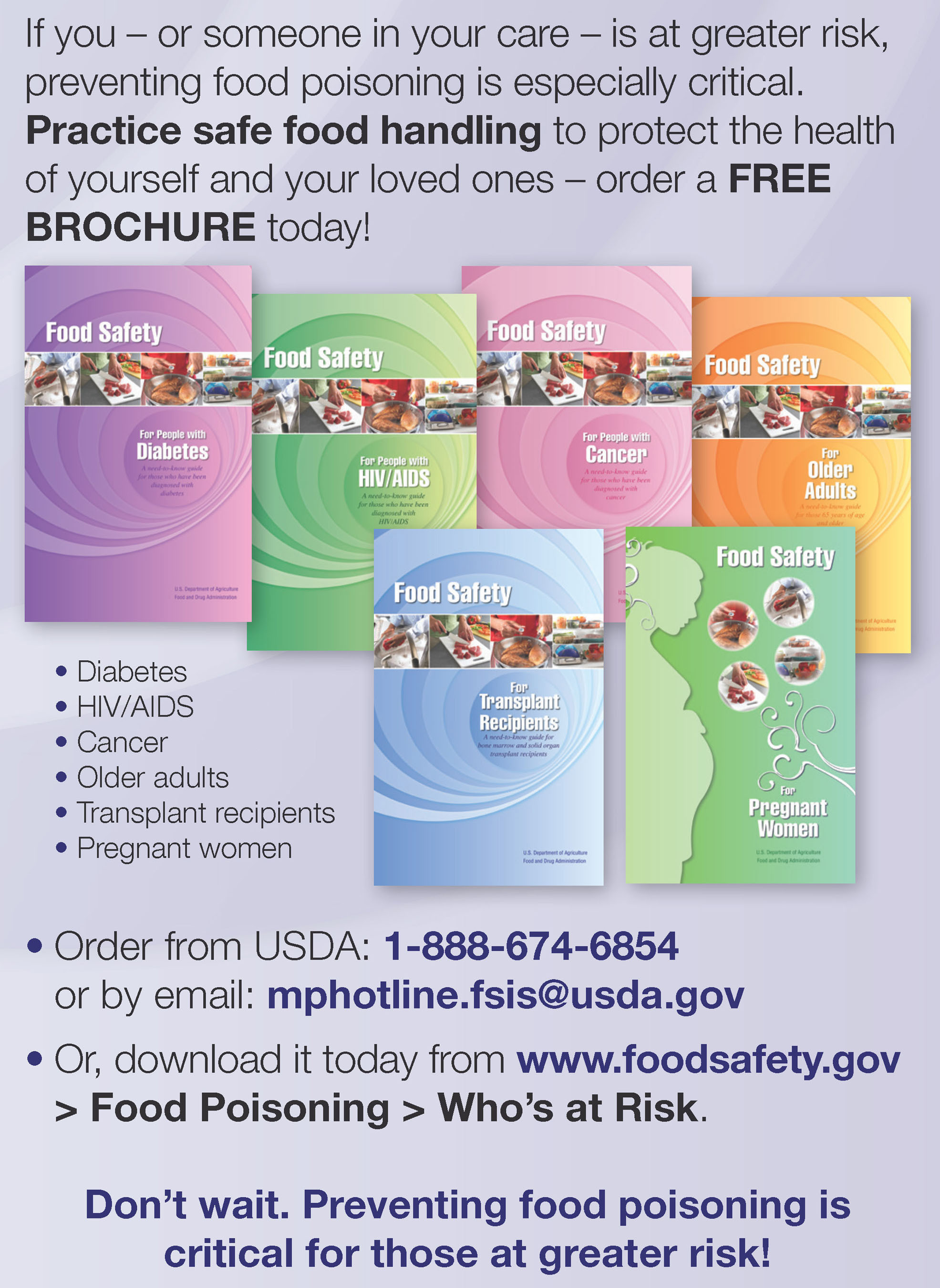 FDA and USDA announce special food safety booklets for vulnerable people.  (PRNewsFoto/U.S. Food and Drug Administration)