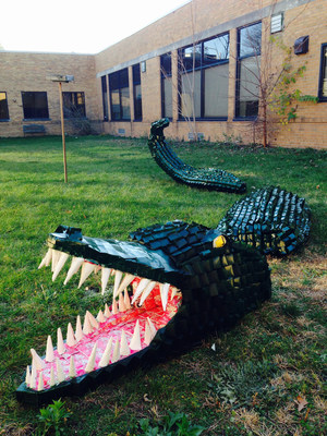 Southfield Regional Academic Campus from Southfield, Michigan, won the Made By Milk(TM) Carton Construction Contest grand prize of $5,000 for their 16-foot carton sculpture Alligator, made out of 1,345 repurposed milk cartons