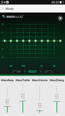 The Waves MaxxAudio GUI on the new Oppo Find 7 smartphone.