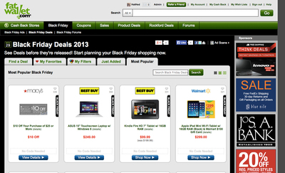 FatWallet's Black Friday Deal Finder is a one-stop resource for shoppers to compare and shop for all the Black friday deals. (PRNewsFoto/FatWallet) (PRNewsFoto/FATWALLET)