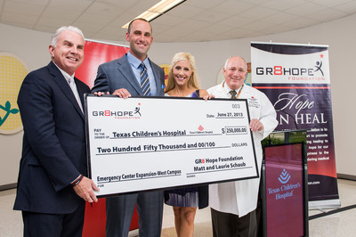 NFL quarterback gives big: Matt Schaub and his wife Laurie presented a $250,000 check to Texas Children's Hospital West Campus. The donation is part of a $1 million pledge, raised through their GR8 Hope Foundation, which will be used to expand the emergency center.  (PRNewsFoto/Texas Children's Hospital)