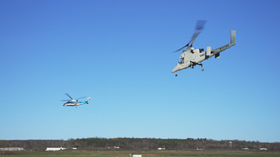 During this demonstration, the optionally piloted Kaman K-MAX(TM) and the Sikorsky Autonomy Research Aircraft (SARA) engaged in collaborative firefighting and search-and-rescue with the Indago quadrotor and Desert Hawk III fixed wing unmanned aircraft system (UAS) providing information, surveillance and reconnaissance. Photo courtesy Lockheed Martin.