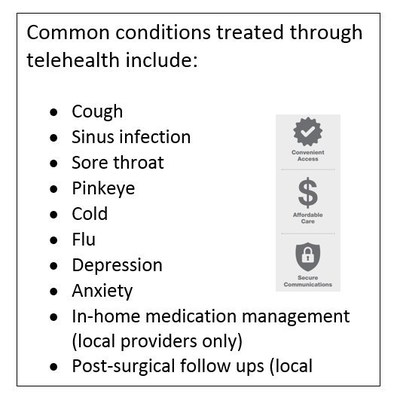 Common conditions treated through telehealth