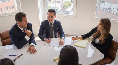 Attorney Carney Shegerian, Attorney Anthony Nguyen, and Attorney Cortney Shegerian (left to right) pictured discussing case details at Shegerian & Associates.