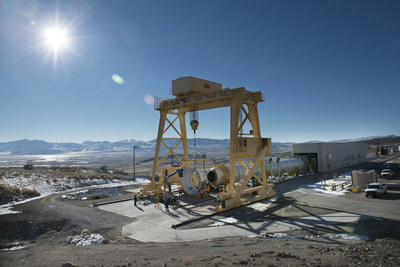 The first qualification motor for NASA's Space Launch Systems booster is installed in ATK's test stand in Utah - ready for a March 11 static-fire test.