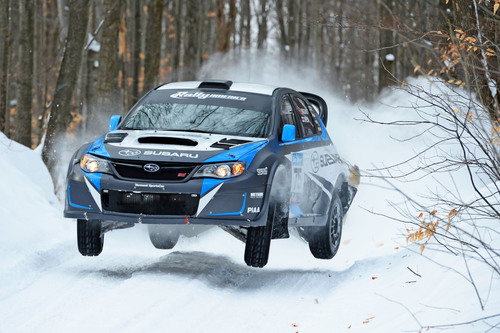 Subaru Rally Team USA Driver David Higgins won the 2014 Sno Drift Rally, the first round of the Rally America Championship.  (PRNewsFoto/Subaru of America, Inc.)