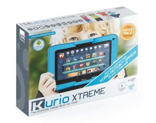 "Techno Source's Kurio Xtreme, the Ultimate Android Tablet Built for Kids, is a 7"" Wi-Fi enabled Android 4.4. device designed for extreme play and the safest online experience.  Now featuring an Intel Atom processor, Google Play, 24/7 customer support right from the tablet, exclusive body motion gaming, and preloaded with more than $300 worth of apps, games and more.  Available at major retailers nationwide and online beginning October 1, 2014. (PRNewsFoto/Techno Source)"