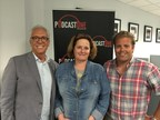 Pictured (left to right): PodcastOne Chairman and CEO Norm Pattiz, Hubbard Radio Chair and CEO Ginny Morris, and PodcastOne President Kit Gray