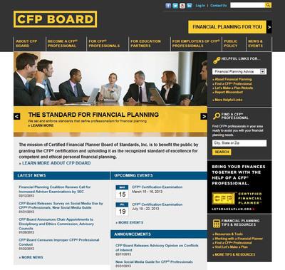 Screen shot of CFP Board's new website, www.CFP.net.