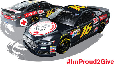 "The No. 16 Red Cross Ford Fusion sports an ""#ImProud2Give"" paint scheme for the Las Vegas Motor Speedway race, this Sunday, March 9. The car advertises ""Your name here"" on its hood, and one lucky blood donor's name will emblazon the No. 16 Red Cross Ford Fusion hood for the Darlington race on April 12.  (PRNewsFoto/American Red Cross)"