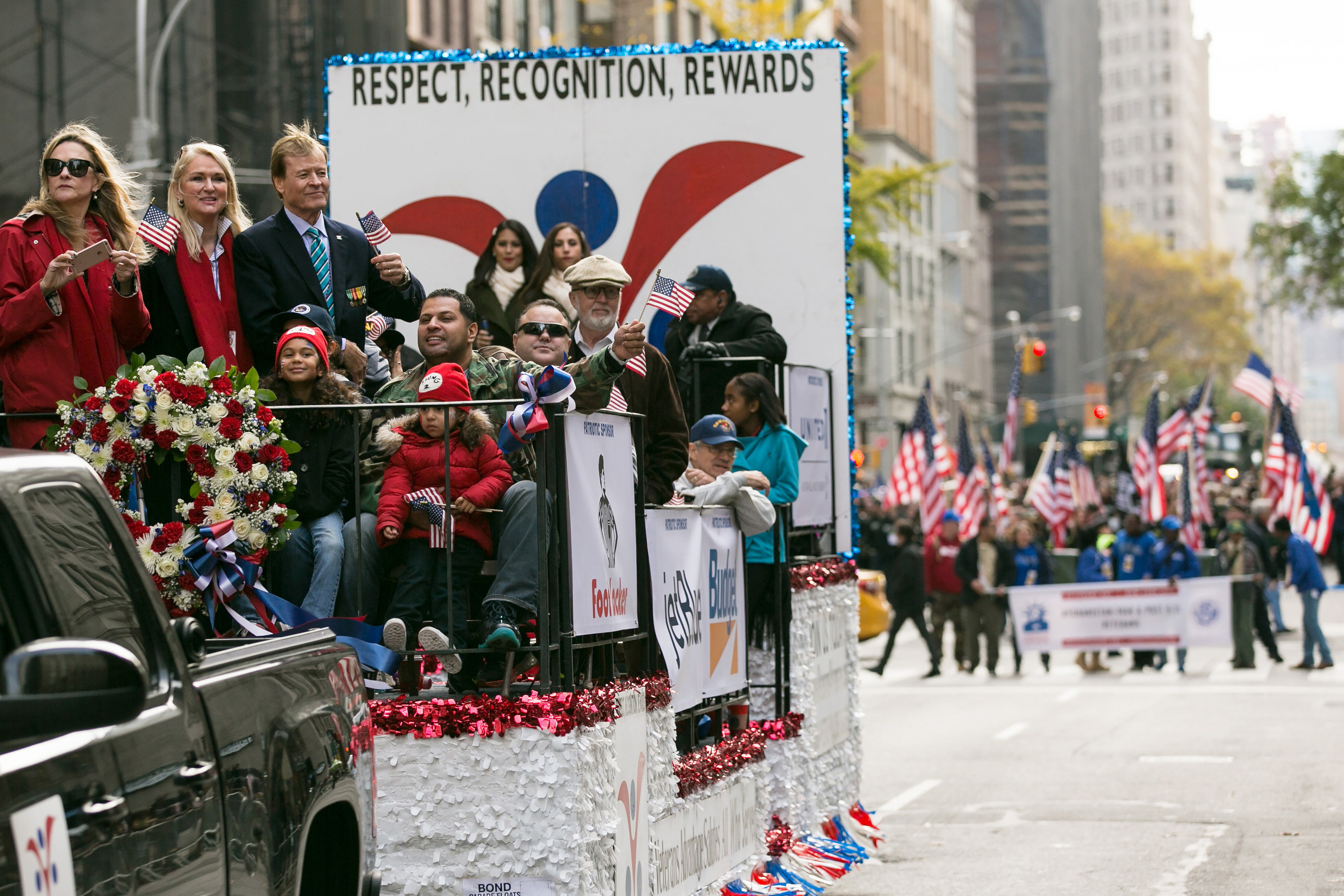 The Veterans Advantage float joins the Veterans Day Parade, also known as America's Parade, in New York City on Veterans Day, Wednesday, Nov. 11, 2015. PHOTO BY MARK JOHNSTON/Veterans Advantage