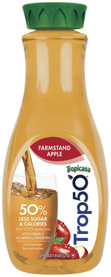 Tropicana Trop50(R) introduces new Farmstand Apple, delivering the goodness of juice with 50 percent less sugar and calories, and no artificial sweeteners. At 50 calories per eight-ounce glass, Trop50 Farmstand Apple squeezes in a full day's supply of vitamin C and is a good source of antioxidant vitamin E. New Tropicana Trop50 Farmstand Apple is available in the chilled juice aisle. Visit www.Trop50.com for more information.