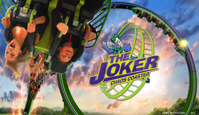 New at Six Flags Over Georgia is the park's 12th roller coaster, THE JOKER Chaos Coaster along with Harley Quinn Spinsanity for 2015. THE JOKER Chaos Coaster will feature a series of loops and then suspend riders upside down seven stories off the ground. These two family attractions will be located in the Gotham City section of the park and open in the spring of 2015. (PRNewsFoto/Six Flags Over Georgia)