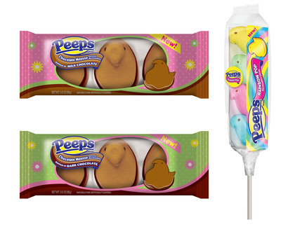 This Easter PEEPS(R) fans will love New PEEPS(R) Chocolate Dipped Chocolate Mousse flavored Marshmallow Chicks and fans will also enjoy a rainbow of fluffy fun with the new PEEPS(R) Rainbow Pop.  (PRNewsFoto/Just Born, Inc.)