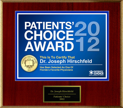 Dr. Hirschfeld of Tampa, FL has been named a Patients' Choice Award Winner for 2012.  (PRNewsFoto/American Registry)