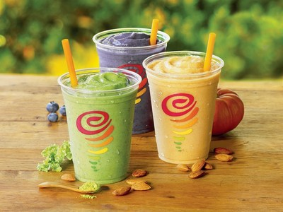 Jamba Juice's new Almond Milk Smoothies are available in three creamy flavors - Peanut Butter & Berries, Pumpkin, and Matcha Green Tea - each dairy-free and offering an excellent source of calcium and at least one serving of fruit.