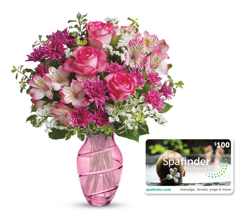 Teleflora's Pink Bliss Mother's Day 2014 Floral Bouquet + SpaFinder Wellness Gift Bundle. (Photo courtesy of Teleflora.) (PRNewsFoto/Teleflora) (PRNewsFoto/TELEFLORA)