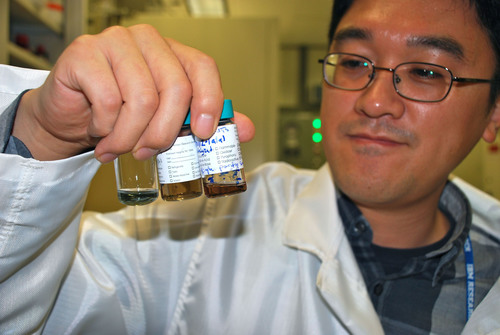 IBM researcher Hongsik Park observes different solutions of carbon nanotubes. Carbon nanotubes, borne out of chemistry, have largely been laboratory curiosities as far as microelectronic applications are concerned. IBM's novel processing method helps pave the way for carbon technology as a viable alternative to silicon in future computing.  (PRNewsFoto/IBM)