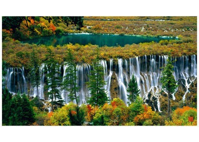 Jiuzhai Valley's Nuorilang Waterfall - China's Most Beautiful Waterfalls. (PRNewsFoto/Jiuzhai Valley National Park) (PRNewsFoto/JIUZHAI VALLEY NATIONAL PARK)