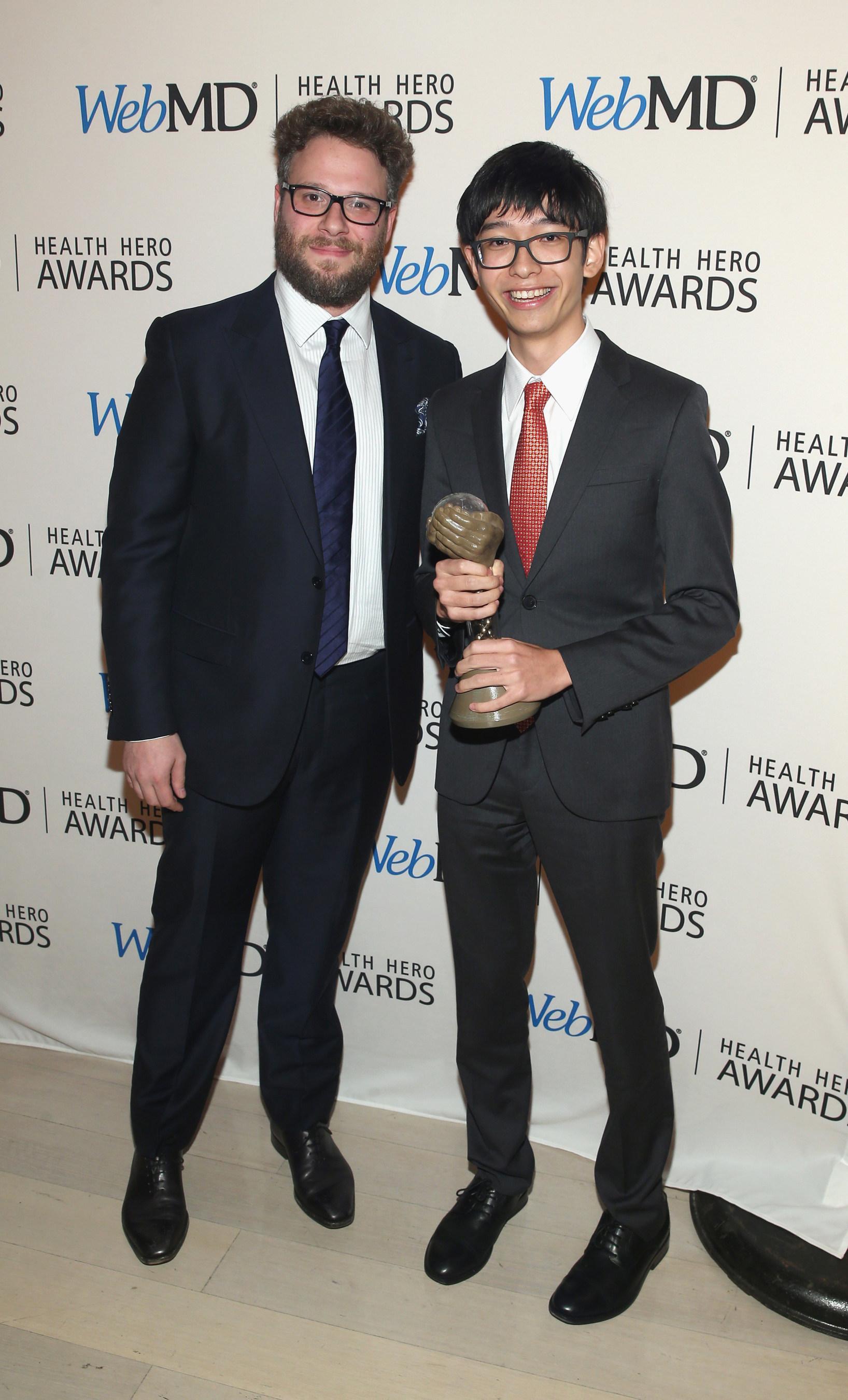 Seth Rogen and WebMD Health Hero Prodigy Award Winner Kenneth Shinozuka Attend the WebMD Health Hero Awards Gala at TimesCenter on November 5, 2015