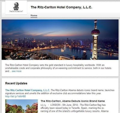 The Ritz-Carlton LinkedIn Page
