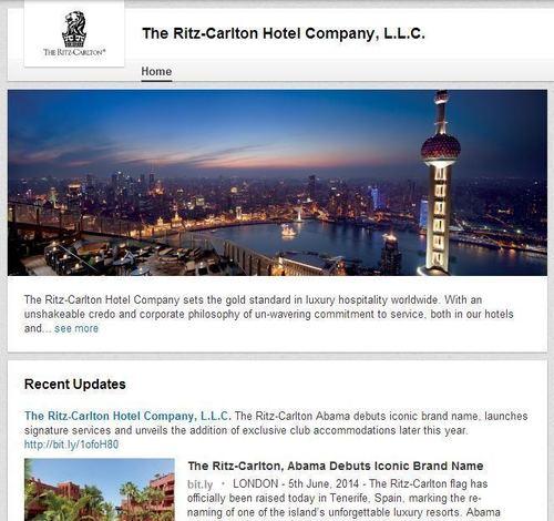 The Ritz-Carlton LinkedIn Page (PRNewsFoto/The Ritz-Carlton Hotel Company)