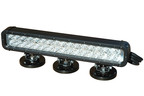 The LEDLB-32E-IR-M-110V infrared LED light bar from Magnalight produces light in the infrared 750Nm, 850Nm or 940Nm end of the light spectrum depending upon the version selected. 32 Edison Edixeon(R) 3 watt infrared emitters are arranged in rows and paired with high purity 10 degree optics to produce a tightly focused infrared spot beam 1,110' long by 160' wide with limited spread or light spillage. We offer optional floodlight versions of this light that have 35 degree optics to produce a wider beam spread and more infrared light over a larger area nearer the fixture.  (PRNewsFoto/Larson Electronics)