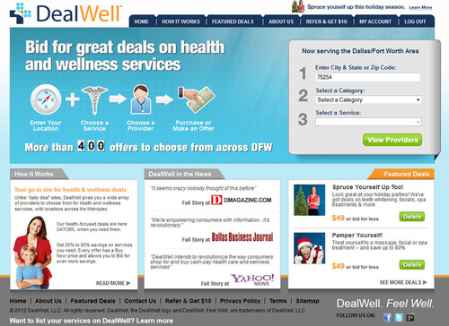 Prices lowered on Massage, Face and Skin Treatments, Teeth Whitening offers and much more from top Dallas area providers at www.dealwell.com.  (PRNewsFoto/DealWell)