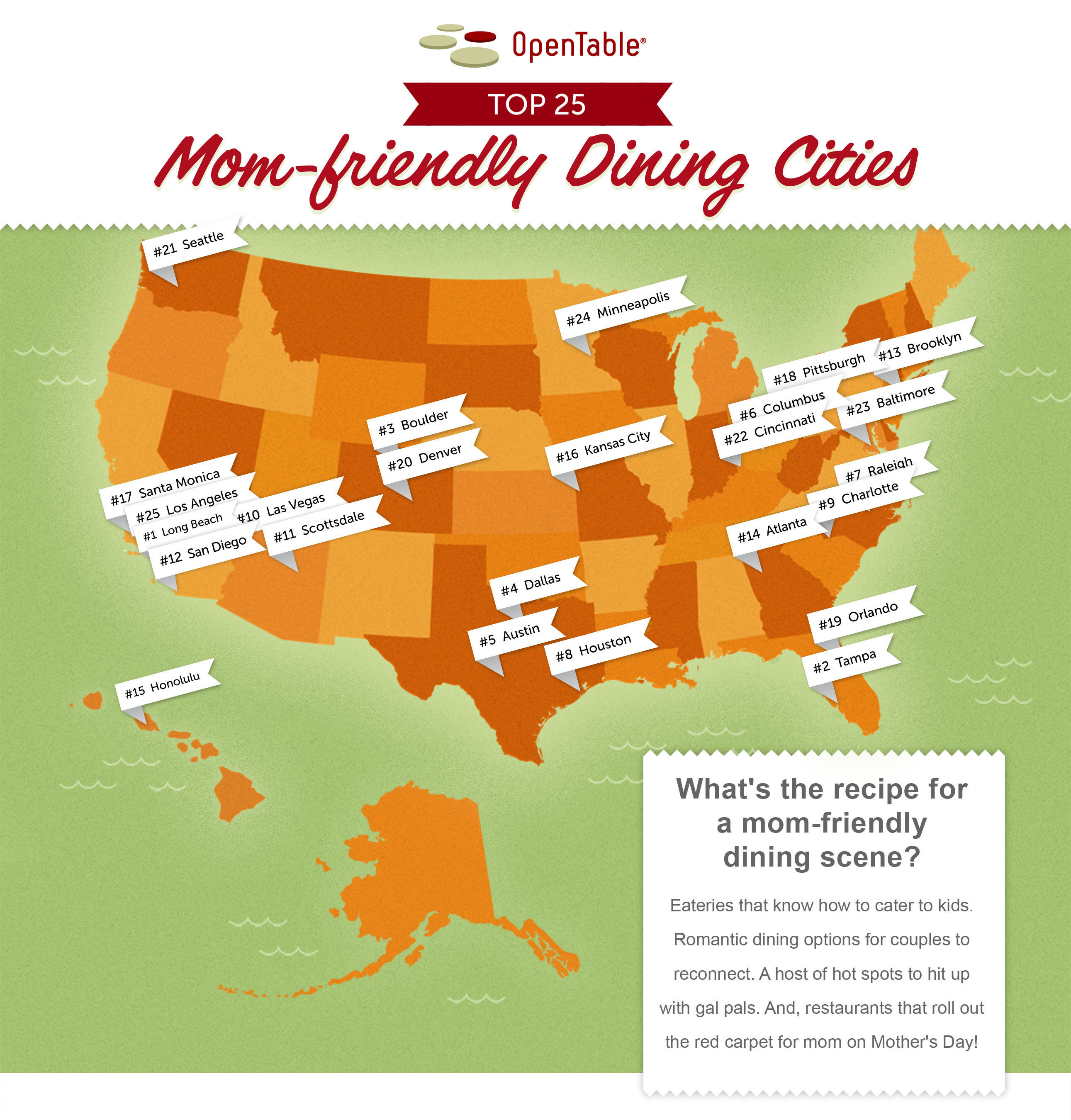In celebration of Mother's Day, OpenTable Reveals Top 25 Mom-friendly Dining Cities in the U.S.  ...