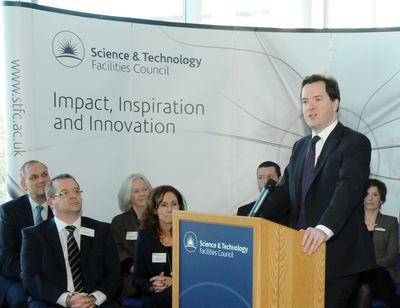 UK Chancellor George Osborne pledging £30m to the STFC for its super-computing research programme. (PRNewsFoto/Sci-Tech Daresbury)