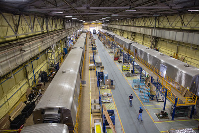 New Amtrak long distance cars being built by CAF USA at its Elmira, N.Y., facility.  Amtrak long distance services provide mobility and economic opportunity to communities across America.    (PRNewsFoto/Amtrak)