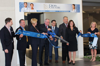 Cross Country Healthcare (CCH) cuts the ribbon celebrating its corporate expansion and new headquarters in Boca Raton, Florida.  Pictured here (left to right): Boca Raton City Council member Jeremy Rodgers, CCH Senior Vice President Patrick Ahern, CCH General Counsel and Secretary Susan Ball, CCH President and Chief Executive Officer William J. Grubbs, CCH Chief Financial Officer William Burns, Boca Raton City Council member Robert Weinroth, Boca Raton Mayor Susan Haynie and CCH President Vickie Anenberg.
