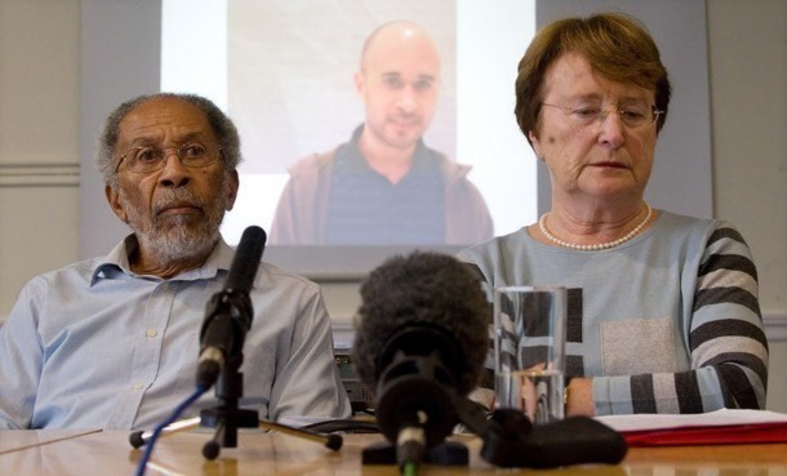 Michael's parents pictured at press conference in London.