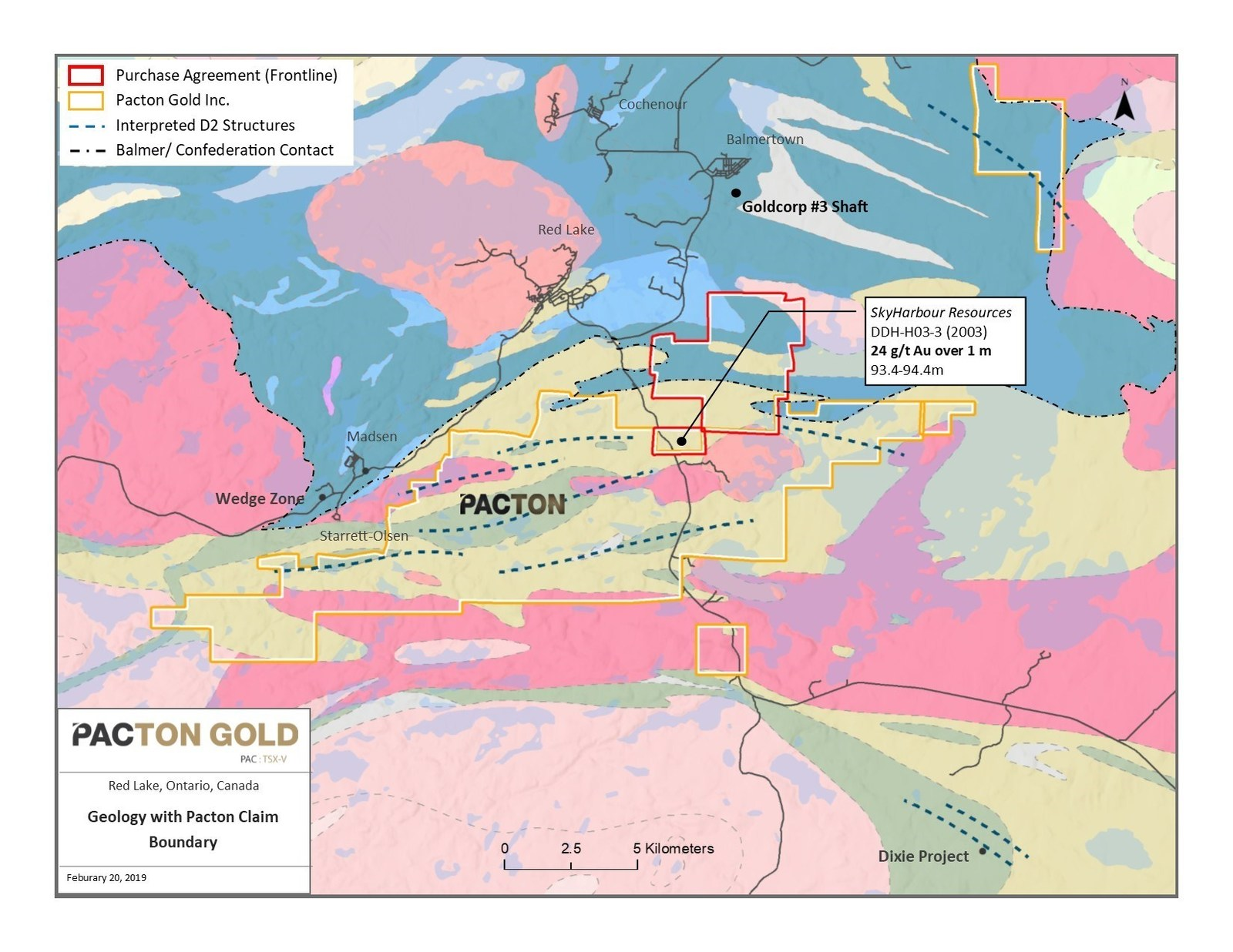 Figure 1. Location map of mineral claims acquired by Pacton Gold.
