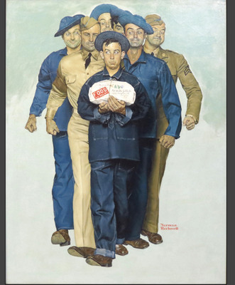 Missing for decades, Norman Rockwell's WWII masterpiece Willie Gillis: Package From Home has turned up at Chicago fine art auction house Susanin's and will be sold December 1.  Rockwell's Rosie the Riveter sold at auction in 2002 for nearly $5 million. In 2006, Rockwell's Breaking Home Ties fetched a record-setting $15.4 million from an anonymous buyer.  (PRNewsFoto/Susanin's)