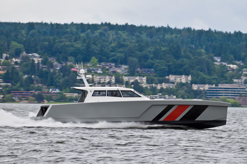 Zyvex Marine's 17-meter vessel is a deep-V hull designed for fuel efficiency, rough sea stabilization and ...