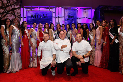 Chefs Michael Voltaggio, Jose Andres and Bryan Voltaggio pose with Miss World contestants at MGM National Harbor's grand opening party
