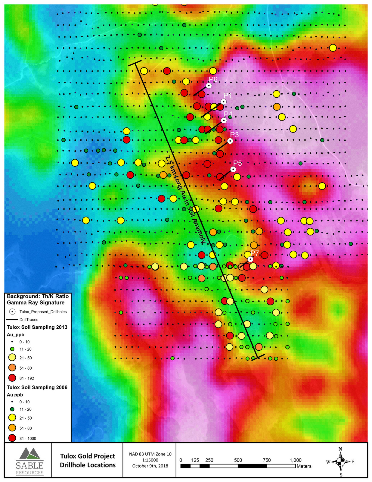 Tulox Gold Project Drillhole Locations